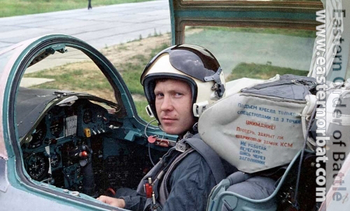 Soviet Air Force 10th independent Reconnaissance Air Regiment pilot his MiG-25RB Foxbat at Shchuchin
