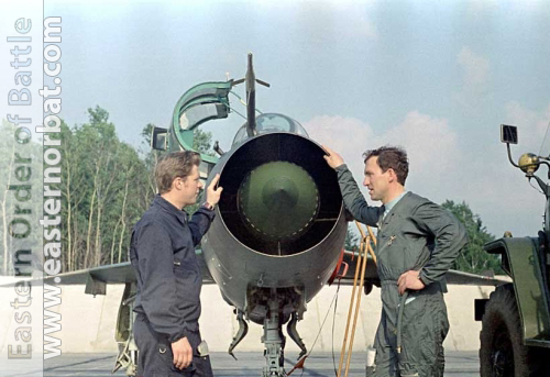 Soviet Air Force 10th independent Reconnaissance Air Regiment pilots his MiG-21UM Mongol-B at Shchuchin