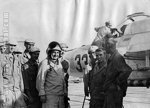 The 115th Fighter Air Regiment's 1st squadron crew and the 49th Air Army commander Major-General Alexey Anastasovich Mikoyan in front of their MiG-21PFM Fishbed-F at Kokayty in 1974