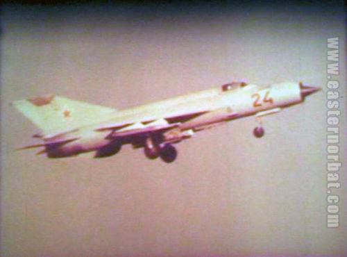 Soviet Air Force 115th Figher Air Regiment's MiG-21bis Fishbed-L over Kokayty airport in 1979