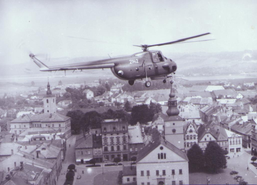 The 12th Helicopter Regiment above Lanškrouna city in 1967