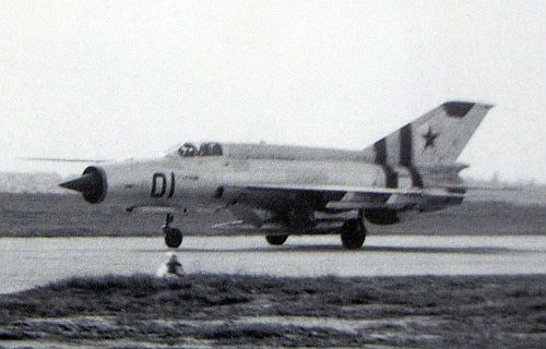 In 21st August 1968 Soviet new MiG-21S Fishbed-J tactical fighter of 159th Guard Fighter Air Regiment arrived at Maldá airfield in 1968 during the Czechoslovak invasion.