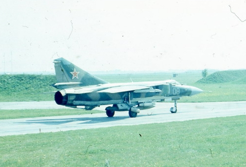 The 168th Fighter Air Regiment received a new MiG-23ML 'Flogger-G' tactical fighter-type between 1977 and 1978. This early sub-version used only radar 323-ML 'Sapphire-23ML'. This photo was taken at Starokonstaninov airport in the middle of the eighties.