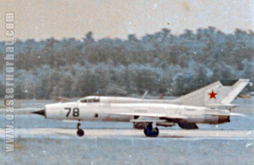 Soviet 234th Fighter Air Regiment's MiG-21PFM Fishbed-F on Domodedovo airshow in 1967 with SPRD-99 RATO rockets