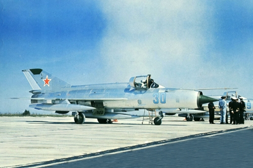 Soviet MiG-21MF Fishbed-J at Reims air base France in Sept 1971