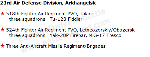 Soviet 5th Air Defense Division, PetrozavodskSoviet 23rd Air Defense Division, Arkhangelsk