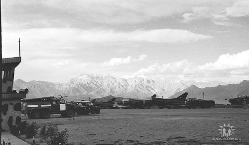 Afghan Air Force's Su-22M Fitter-J fighter-bomber and 27th Guard Fighter Air Regiment's MiG-21UM Mongol-B in Bagram