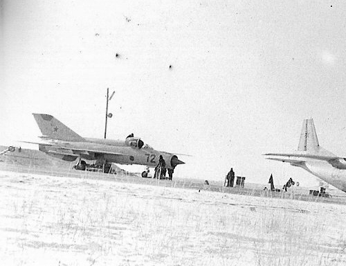 USSR 27th Guard Fighter Air Regiment's factory new MiG-21bis Fishbed-L in Usharal in 1975. Photo: Zulkaraev Rafat collection