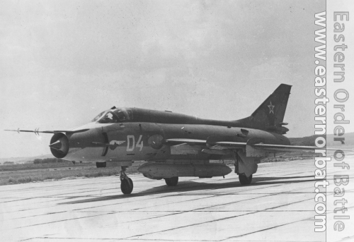 The Soviet 381th independent Reconnaissance Air Regiment's Su-17M3 Fitter-H in Chimkent airport in the eighties