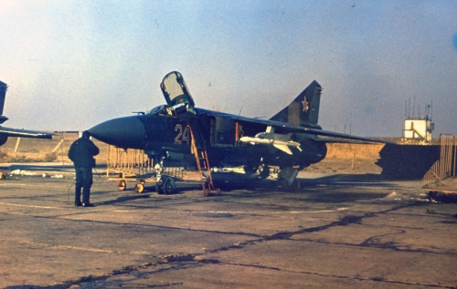 USSR MiG-23P Flogger-G at Privolzhskiy, Astrakhan airport with R-24 AA-7 Apex and R-60M AA-8 Aphid missile
