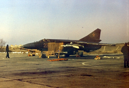Soviet MiG-23P Flogger-G at Privolzhskiy, Astrakhan airport with R-24 AA-7 Apex and R-60M AA-8 Aphid missile