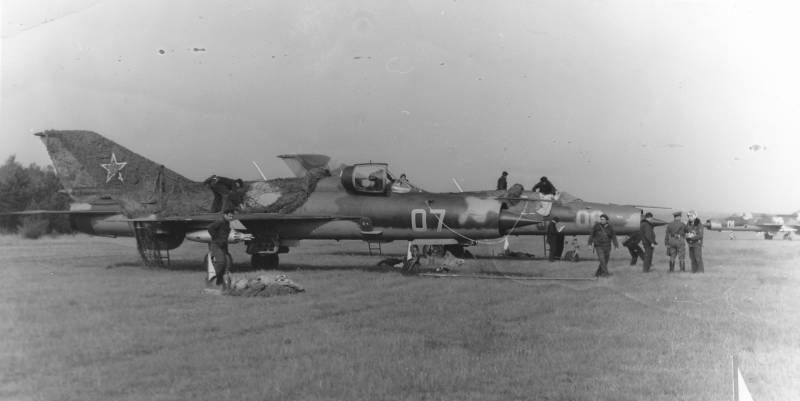 Soviet Air Force MiG-21PFM Fishbed-F in Poland on grass airport
