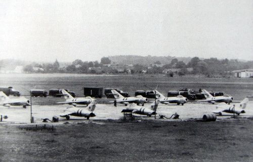 Soviet MiG-17 Fresco-A fighter-bombers of 42nd Guard regiment at Czechoslovak Hradec Králové airport in 1968 during the Operation