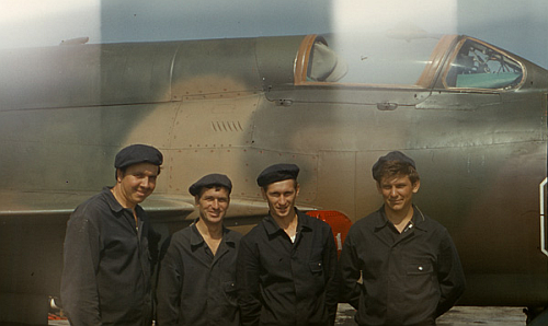 Soviet Air Force of the Southern Group of Forces's mechanical crews front of their MiG-21bis Fishbed-L at Hungary Tököl airport