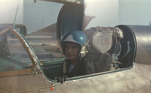 Soviet Air Force of the Southern Group of Forces's pilot front of his MiG-21bis Fishbed-L at Hungary Tököl airport