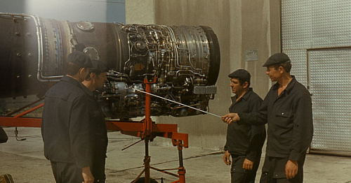 Soviet 515th Fighter Air Regiment's mechanical crews anf their Tumansky R-25 is a turbojet engine at Hungary Tököl airport