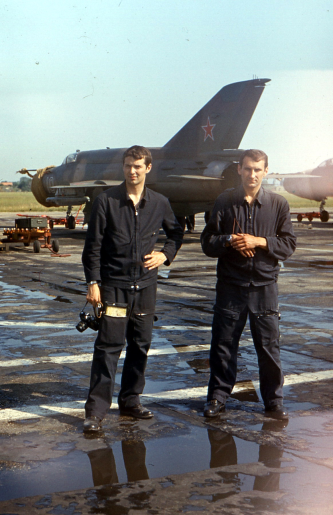 Soviet 515th Fighter Air Regiment's pilots (Andrey Timohin and Godunov) front of their MiG-21bis Fishbed-L at Hungary Tököl air base