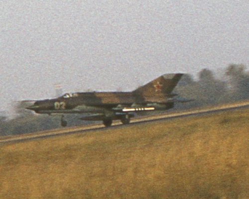 USSR 515th Fighter Air Regiment's MiG-21bis Fishbed-L landing at Hungary Tököl in 1986