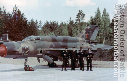 The 66th Fighter Bomber Air Regiment's old MiG-21SMT Fishbed-K bombers.