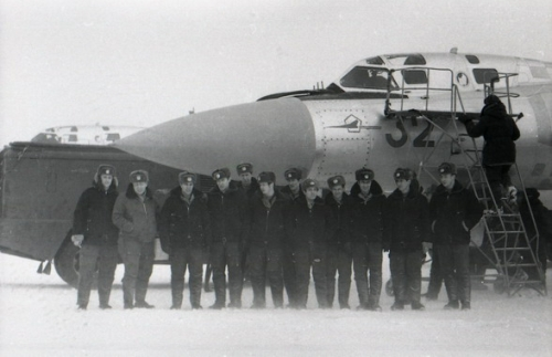 72nd Guard Fighter Air Regiment PVO in front of their new huge Tu-128 'Fiddler' long range patrol interceptor at Amderma airport