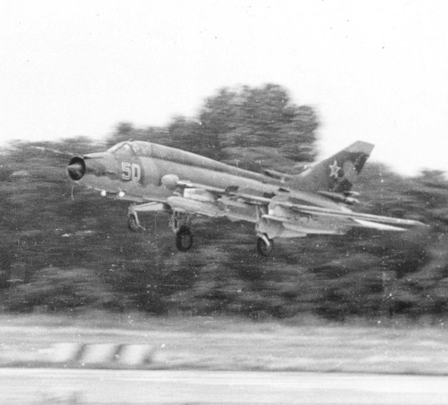 730th Fighter Bomber Air Regiment's Su-17M4 Fitter-K landing with SPS-141 ECM pod