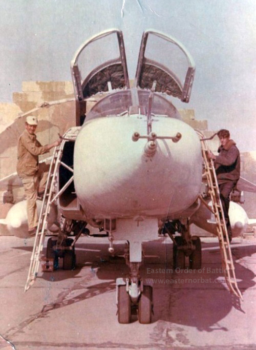 Modern Soviet Su-24 Fencer-B long range tactical bomber of the 735th regiment at Khanabad airport.
