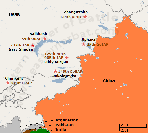 Soviet Central Asian Military District's Tactical Air Force' Order of Battle map in 1983