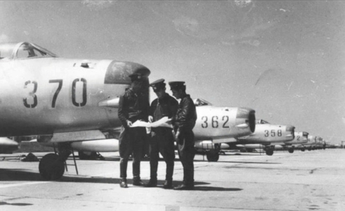 Albanian pilots in front of MiG-19PM