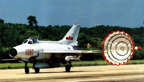 Chengdu J-7II (MiG-21) Fishbed interceptor with PL-5 short-range air to air missile