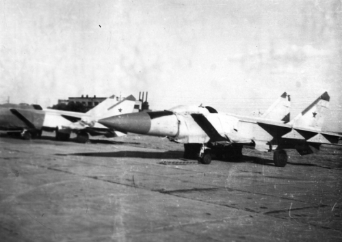 USSR MiG-25P Foxbat-A interceptors of the 82nd Fighter Air Regiment parking on Privolzhskiy, Astrakhan military airfield