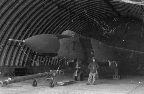 USSR 82nd Fighter Air Regiment's MiG-25PDS 'Foxbat-E' under a hardened aircraft shelter in the eighties