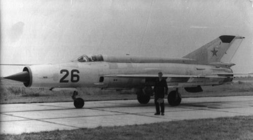 Soviet MiG-21SM Fishbed-J at Mirgorod in 1975. Photo:  Malasaj Anatoly