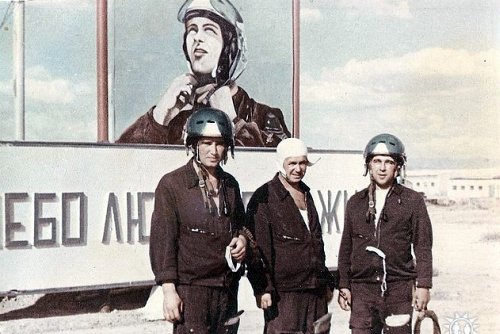 Soviet Air Force 905th Fighter Air Regiment pilots in Taldy Kurgan in 1977