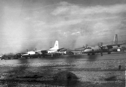 Two soviet An-26 training cargo aircafts in Tokmak airport