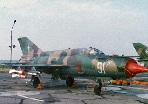 Bulgarian Air Force 15th Fighter Air Regiment former soviet MiG-21bis Fishbed-L fighter in 1991. Source: pan.bg Retrospotters