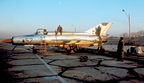 Nature metal coloured Bulgarian Air Force's MiG-21MF Fishbed-J tactical fighter with nuclear stike capatity. Delivery in 1974. Photo: Evgeni Andonov collection