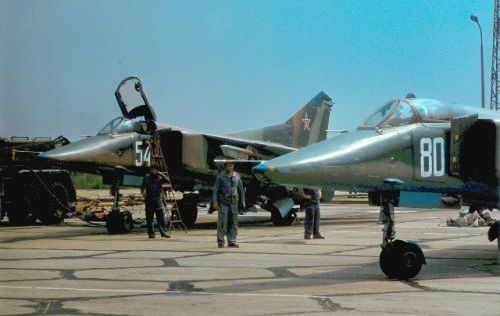 Bulgarian Air Force 25th Fighter Bomber Air regiment's MiG-23BN Flogger Photo: Evgeni Andonov collection