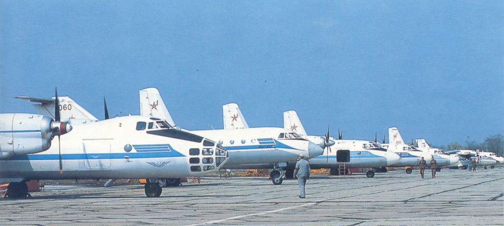 Bulgarian Antonov An-24 Coke, An-26 Curl, An-30 Clank, Yakovlev Yak-40 Codling, Let L-410 cargi aircraft at Dobroslavtzi airport. The 16th Transport Air Regiment received more Antonov An-26 Curl and Let L-410 UVP/UVP-E/UVP-E3 transport types until 1984. Photo: Christian Boisselon collection