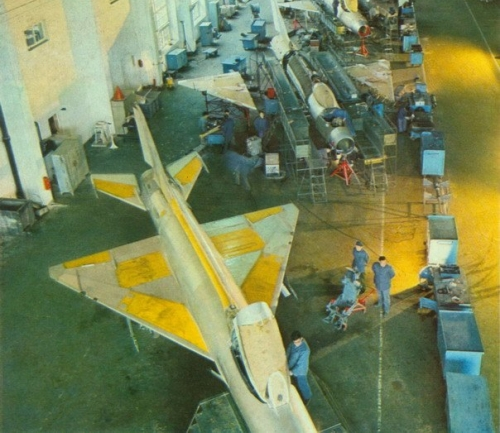 J-7I / F-7A Fishbed assembly line at Chengdu Aircraft factory