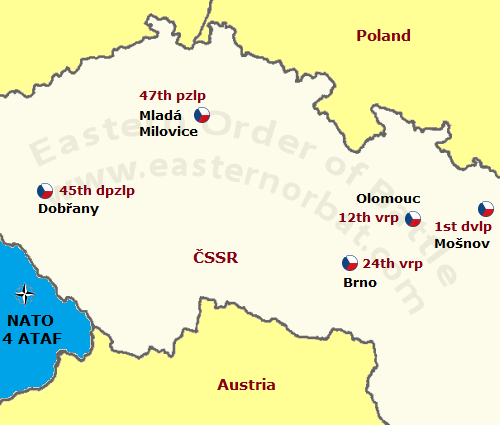 Czechoslovak Air Force 10th Air Army in 1968 map