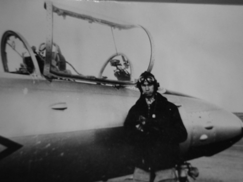 Young Arabic pilot in front of his L-29 Delfin trainer in the Soviet union