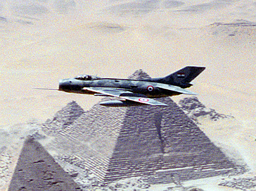 Egyptian Shenyang F-6C over pramis