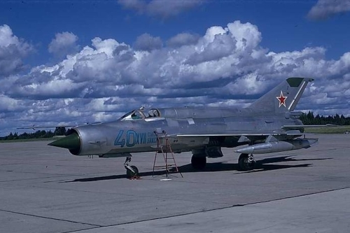 Soviet MiG-21bis Fishbed-L at Rissala airport Finland in 1974