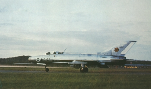 Finnish MiG-21F-13 Fishbed-C at Rissala airport Finland in 1974