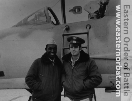 Guinea Bissau pilot and his soviet instructor in front of MiG-21MF Fishbed-J advanced fighter trainer.
