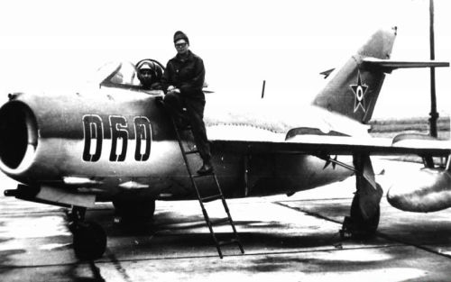 Hungarian 101st Reconnaissance Air Regiment's MiG-15bis Fagot-B in Szolnok airport in 1973.