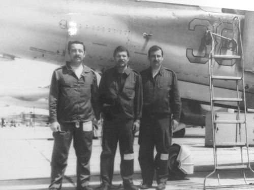 Hungarian pilots in front of theirs MiG-23UB in Lugovaya in 1979