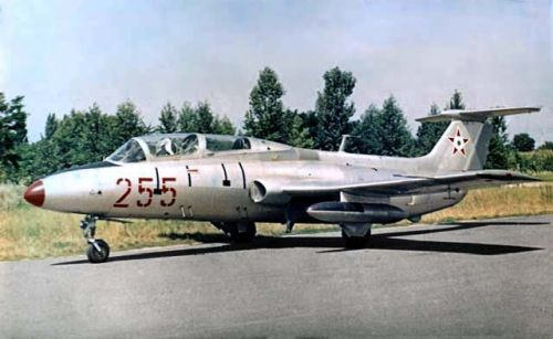 The Aero L-29 Delfin military jet trainer aircraft in Szolnok airport. The type was used for pre-training for the young pilots sent to the Soviet Union.
