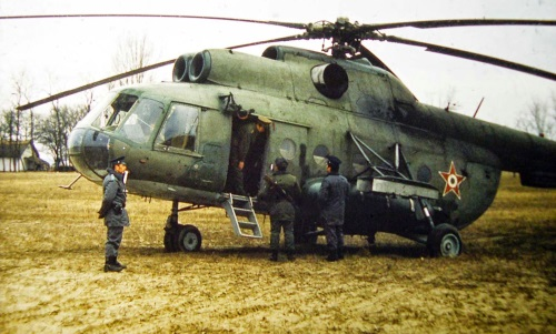 An early color photo about green Hungarian Mi-8T Hip-C medium cargo helicopter. Photo: Simon László