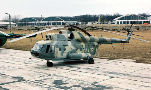Hungarian Mi-9 Hip-G flying command post helicopter in Cold War. Photo: Nagy András collection